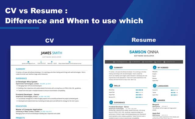difference between an cv and a resume